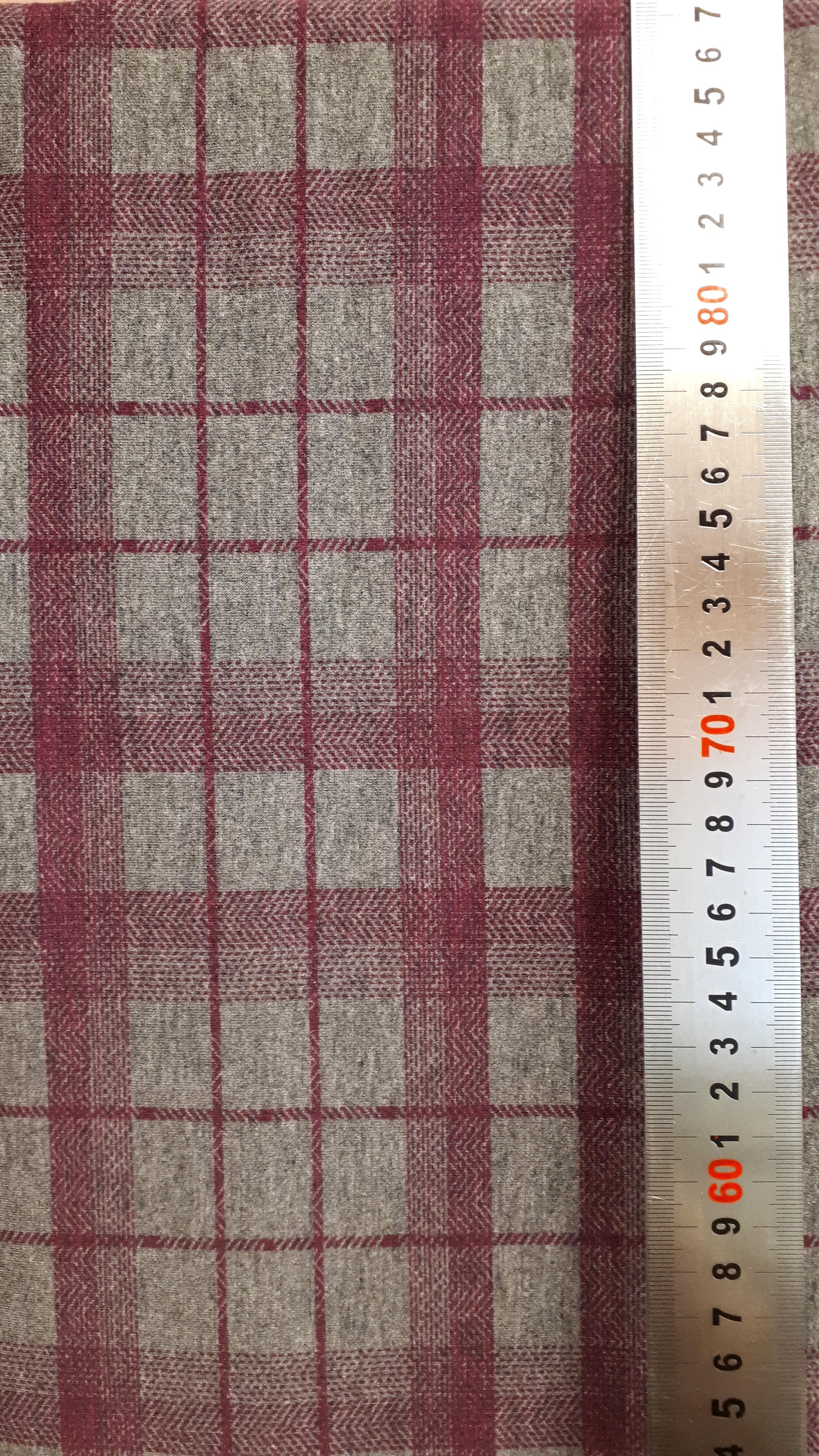 Melanžēta trikotāža ar rūtainu rakstu - 1.7m gabals