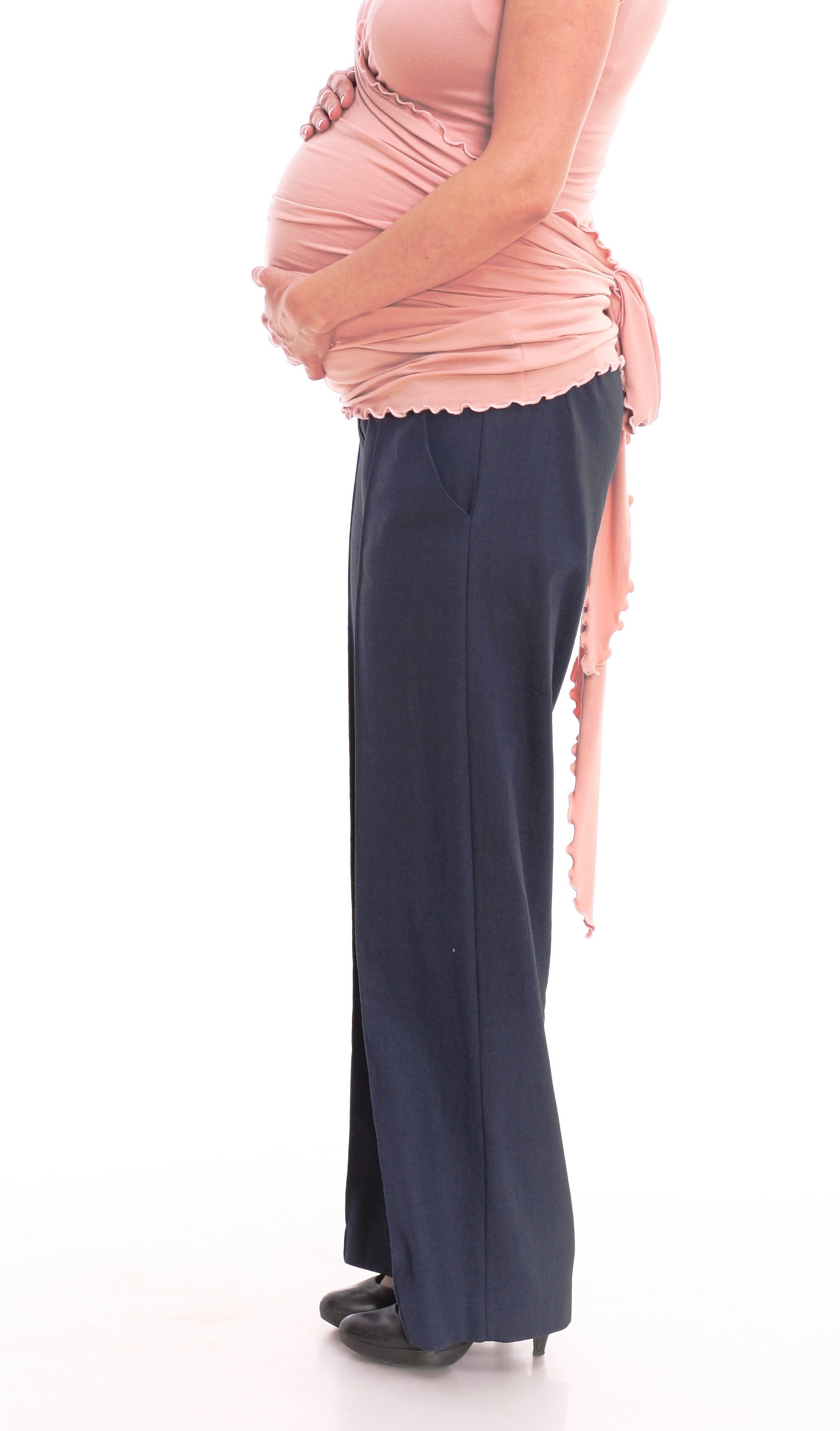 Grūtnieču lina bikses ar vīlēm